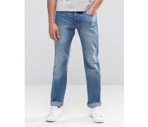 Helle Jeans in regulärer Passform und Used-Waschung Blau