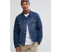 Schmal geschnittene Jeansjacke in blauer Waschung Blau