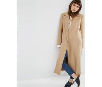 Hochwertiger Mantel aus Wollgemisch in mittlerer Länge mit Metallverschluss Steingrau