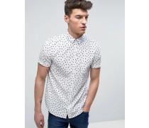 Kurzärmeliges Hemd mit Flamingoprint Weiß