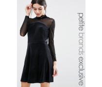 Hochgeschlossenes Mini-Skaterkleid aus Samt mit Ärmeln aus Netzstoff Schwarz