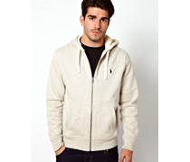 Unifarbener Jersey-Kapuzenpullover mit Reißverschluss Grau