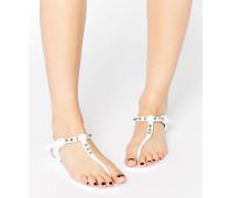 Solitary Flache Sandalen mit Niete und Jelly-Zehensteg Weiß
