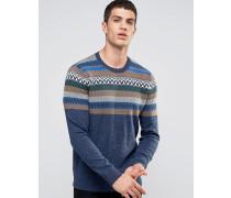 Blauer Strickpullover mit Rundhalsausschnitt und Muster auf der Brust Blau