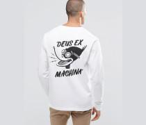Langärmliges T-Shirt mit Entenprint hinten Weiß