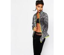 Jacke mit Reißverschluss vorne und Retro-Muster Grau