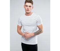 Gestreiftes T-Shirt in Weiß Weiß