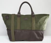 Reisetasche aus Leinen mit Kontrastsaum Grün