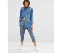 Knöchellange Hose mit Nadelstreifen Blau
