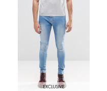Brooklyn Supply Co Dyker Helle Jeans in enger Passform mit Abnutzungserscheinungen Blau