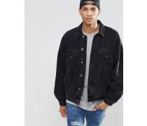 Übergroße Jeansjacke in schwarzer Waschung Schwarz