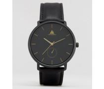 Schwarze Uhr mit goldenen Zeigern Schwarz
