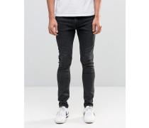Form Superenge Jeans in verwaschenem Grau Schwarz