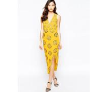 Virgo's Lounge Daria Verziertes, asymmetrisches Kleid Gelb