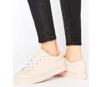 Sneaker mit flacher Plateausohle zum Schnüren Rosa