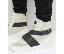 Washed Lion Hohe Sneaker Grau