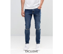 Brooklyn Supply Co Enge Dumbo-Jeans in Vintage-Waschung mit Schliss am Knie Blau