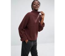 Hochgeschlossener, gerippter Pullover Rot