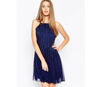 After Party Kleid mit genoppten Streifen Marineblau