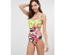 Badeanzug mit Blumen und Quaste sowie Zierausschnitten Mehrfarbig