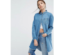 Ungesäumte Denim-Hemdjacke in legerer Passform Blau