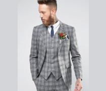 WEDDING Schmal geschnittene Anzugjacke in Grau mit anthrazitfarbenem Karomuster Grau