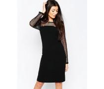 Figurbetontes Kleid mit transparenten Ärmeln Schwarz