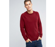 Roter Feinstrickpullover mit Logo Rot