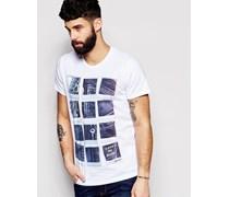 T-Shirt mit Polaroid Denim Print Weiß