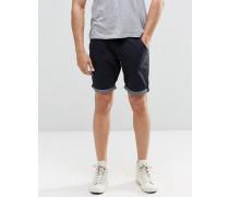 Chino-Shorts mit farblich abgesetztem Krempelsaum Marineblau