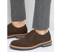 Blind Side Derby-Schuhe aus Wildleder im Budapester Stil Braun