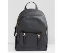 Mini-Rucksack mit Reißverschluss-Tasche Schwarz