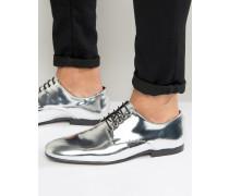 Silberfarbene Schnürschuhe Silber