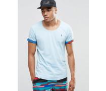 Strand-T-Shirt mit U-Ausschnitt und aufgerollten Bündchen Kombiteil Blau