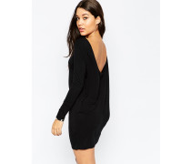 Minikleid mit Wasserfall-Rücken Schwarz