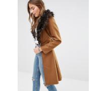 Langer Mantel aus Wollmischung mit übergroßem Kragen aus Kunstpelz Bronze