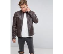 Braune Bikerjacke aus Leder mit Reißverschluss Braun