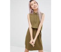 Zweilagiges Hemdkleid Grün