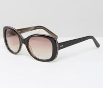 Hochwertige, glamouröse Oversize-Sonnenbrille aus Acetat Schwarz