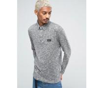 Langärmliges Strick-Polohemd Grau