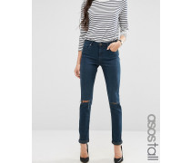 Kimmi Verkürzte Boyfriend-Jeans mit Rissen in dunkler Grace-Stonewash Blau