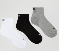 Socken in 3-Viertellänge, 3er-Pack Grau
