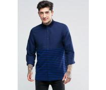 Schmal geschnittenes Hemd mit Streifeneinsatz in Marineblau Marineblau