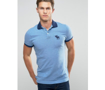 Schmal geschnittenes, marineblaues Polohemd mit Kontrastkragen undElch Marineblau