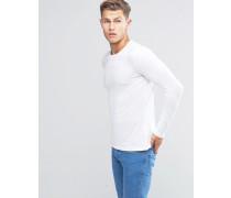 Langarmshirt mit Rundhalsausschnitt Weiß