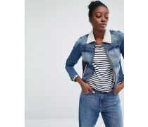 Retro Denim Jacket with Faux Shearling Collar and Borg Linning Blau