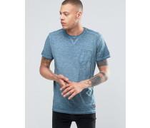 Solid T-Shirt mit Rundhalsausschnitt in Ölwaschung mit Brusttasche Marineblau