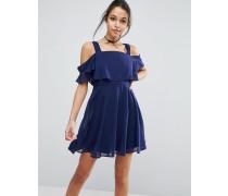 Schulterfreies Camisole-Minikleid Mit Flatterärmeln Marineblau