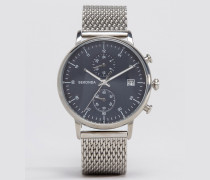 Silberne Chronographenuhr mit Mesh-Armband Silber
