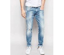 Anbass Slim Fit Stretchjeans in Sunfaded Wash Blau